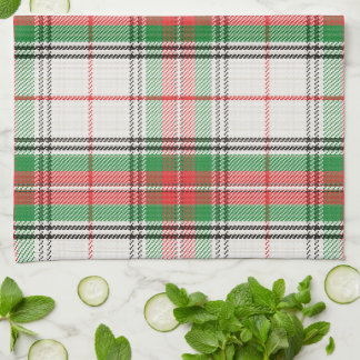 Scottish White, Red & Green Plaid Tartan Tea Towel