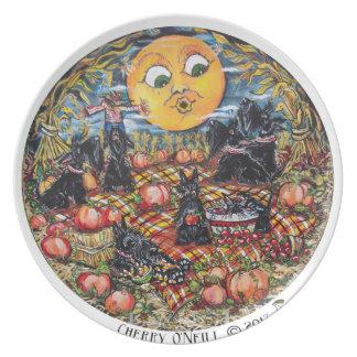 ScottishTerrier Halloween Picnic Dinner Plates