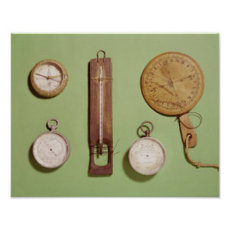 Scott's compass, thermometer, sundial, poster