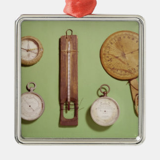 Scott's compass, thermometer, sundial, Silver-Colored square decoration