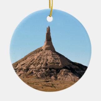 Scottsbluff Nebraska Chimney Rock Spire Round Ceramic Decoration