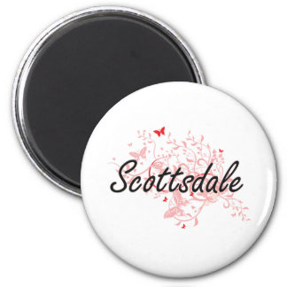 Scottsdale Arizona City Artistic design with butte 6 Cm Round Magnet