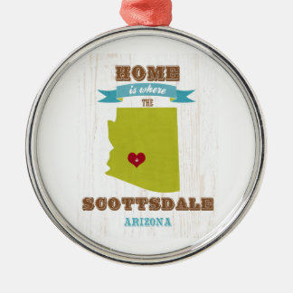 Scottsdale, Arizona Map – Home Is Where The Heart Christmas Ornament