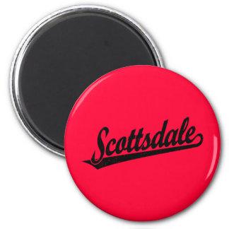Scottsdale script logo in black distressed 6 cm round magnet