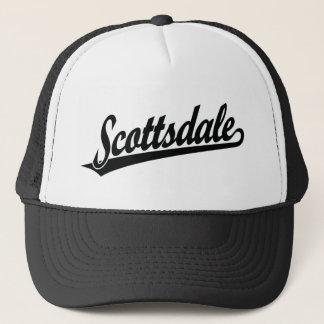 Scottsdale script logo in black trucker hat