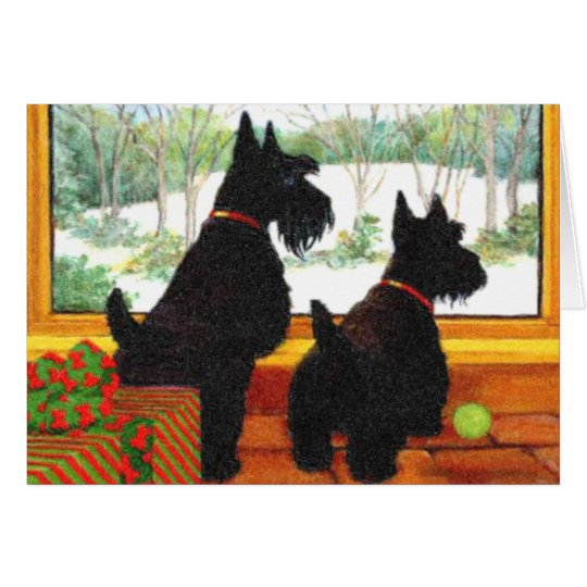 Scotty Dogs At Christmas - Waiting For Santa Card