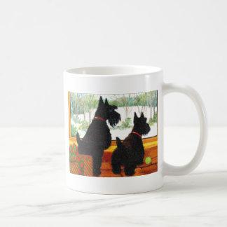 Scotty Dogs At Christmas - Waiting For Santa Coffee Mug