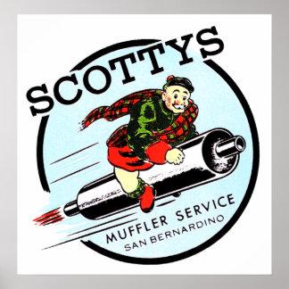Scotty's Muffler Service Vintage Hot Rod Logo Post Poster