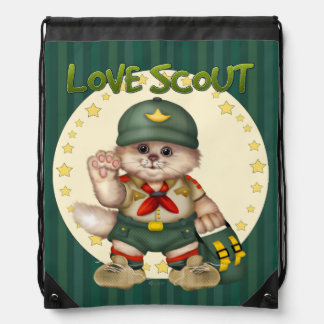 SCOUT CAT CARTOON Drawstring Backpack