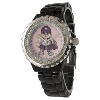 SCOUT CAT GIRL Rhinestone Black Enamel Watch
