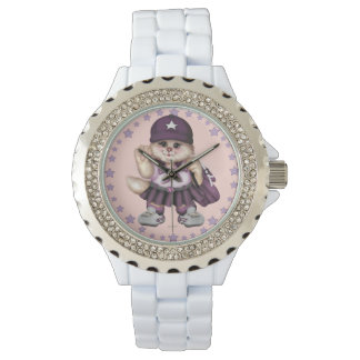 SCOUT CAT GIRL Rhinestone White Enamel Wristwatch