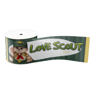 "SCOUT CAT LOVE 2 CARTOON Grosgrain  10 yard 3 "" Grosgrain Ribbon"