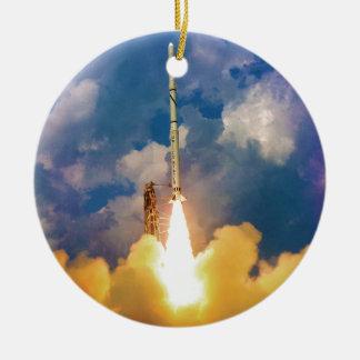 Scout Rocket Launch Round Ceramic Decoration