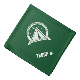 Scouts camping in tents. Bandana