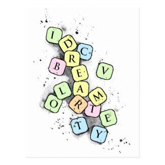 Scrabble letters postcard