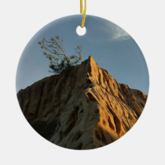 Scraggly Torrey Pine at Sunset California Coast Round Ceramic Decoration