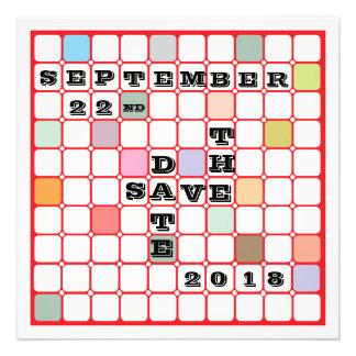 Scramble Board Save the Date Announcement
