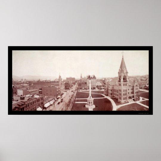 Scranton, PA Downtown Photo 1902 Poster