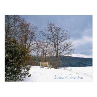 Scranton PA Lake Scranton Post Card Winter Bench
