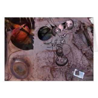 Scrap metal and digital painting collage greeting card