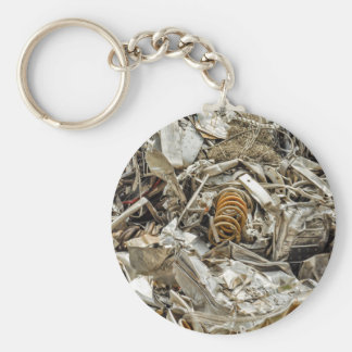scrap metal basic round button key ring