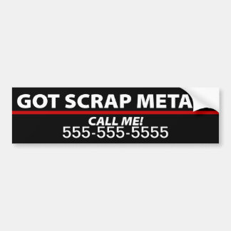 Scrap Metal Bumper Sticker - Scrap Metal Removal Car Bumper Sticker