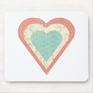 Scrap Paper Hearts Mouse Pad