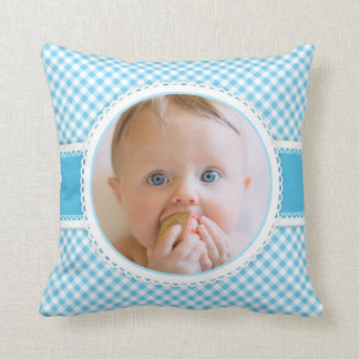 Scrapbook Page Baby Photo Photograph Blue Gingham Cushion