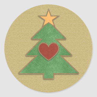 Scrapbook Style Country Christmas Tree Round Sticker