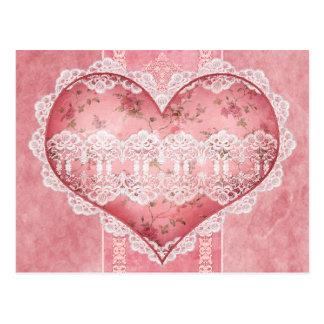 Scrapbook Victorian Floral Heart Postcard