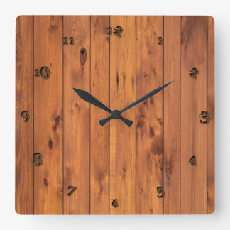 Scratch Rustic Faux Cherry Wood Stylized 3d Number Square Wall Clock