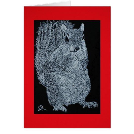 Scratchboard Squirrel Note Card