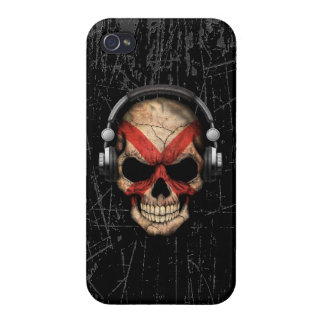 Scratched Alabama Dj Skull with Headphones iPhone 4 Case