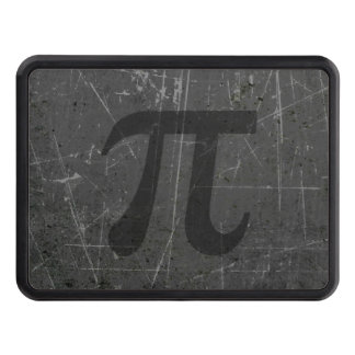 Scratched and Aged Black and Gray Pi Math Symbol Tow Hitch Cover