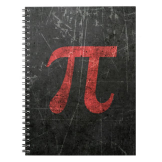Scratched and Aged Red Pi Math Symbol on Black Notebook
