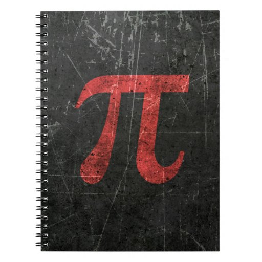 Scratched and Aged Red Pi Math Symbol on Black Spiral Notebooks