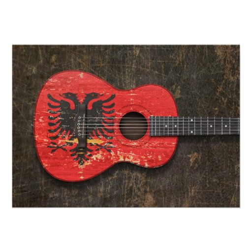 Scratched and Worn Albanian Flag Acoustic Guitar Custom Invite