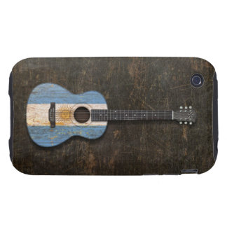 Scratched and Worn Argentinian Flag Acoustic Guita Tough iPhone 3 Case