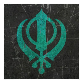Scratched and Worn Blue Sikh Khanda Symbol 13 Cm X 13 Cm Square Invitation Card