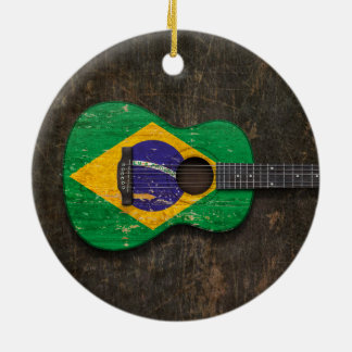 Scratched and Worn Brazilian Flag Acoustic Guitar Christmas Ornament