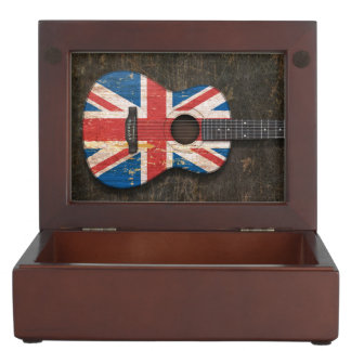 Scratched and Worn British Flag Acoustic Guitar Keepsake Box