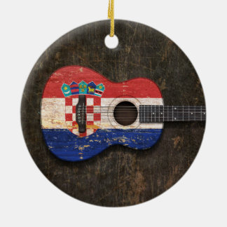 Scratched and Worn Croatian Flag Acoustic Guitar Christmas Ornament