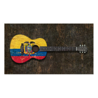 Scratched and Worn Ecuadorian Flag Acoustic Guitar Pack Of Standard Business Cards