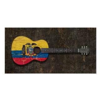 Scratched and Worn Ecuadorian Flag Acoustic Guitar Poster