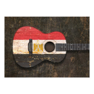 Scratched and Worn Egyptian Flag Acoustic Guitar Personalized Invitation