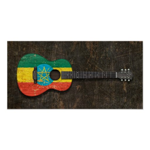Scratched and Worn Ethiopian Flag Acoustic Guitar Posters