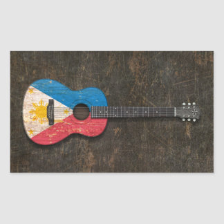 Scratched and Worn Filipino Flag Acoustic Guitar Stickers