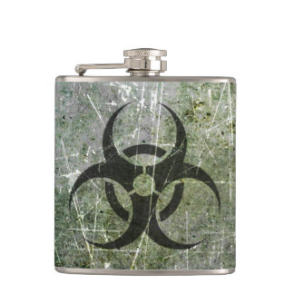 Scratched and Worn Grey and Black Biohazard Symbol Hip Flask
