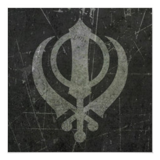 Scratched and Worn Grey Sikh Khanda Symbol 13 Cm X 13 Cm Square Invitation Card