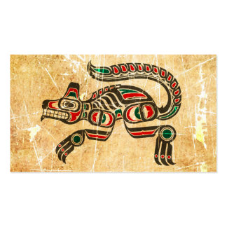 Scratched and Worn Haida Spirit Wolf Double-Sided Standard Business Cards (Pack Of 100)